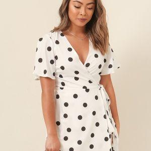 0ac0535cf4e Dresses   Skirts - Black and White Polka Dot Wrap Mini Dress